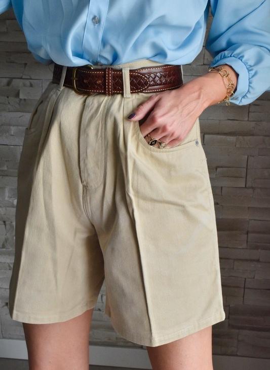 bermuda à plis taille haute vintage